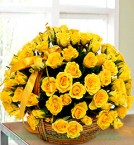 send 50 Yellow Roses Basket delivery