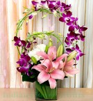 send Arrangement of Orchids Roses and  Lilies Flower delivery