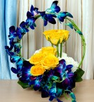 send Basket Arrangement of 2 Blue Orchids 10 Yellow Roses Flower with Leaves delivery