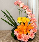 send Flower Arrangement of 5 Yellow Roses 10 Roses and 2 Lilies delivery