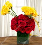send Vase Of Sunshine  Red Yellow Roses Flower delivery