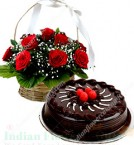 send Eggless Chocolate Cake 500gms N Red Roses Basket delivery