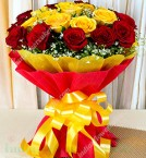 send Bunch of 20 Red and Yellow Roses in Dual Paper Packing delivery