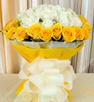 send Bunch of 20 Yellow and White Roses in Dual Paper Packing  delivery
