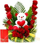 send 20 Red Roses Basket n Teddy Gift delivery