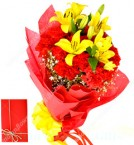 send flower bunch of 15 Red Carnations with 2 Yellow Lilies  delivery