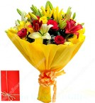 send Flower Bouquet of Red Roses Yellow Roses Yellow Lilies delivery