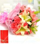 send Flower Bunch of Carnations Pink Roses n Lilies delivery