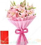 send Bouquet of 7 Pink Lilies delivery