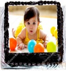 send 1 Kg Eggless Chocolate Personalized Photo Cake delivery