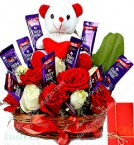 send special surprise Roses Flower n teddy Chocolate arrangement delivery