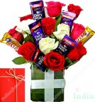 send Perfect Chocolate n Roses Flower Arrangement delivery