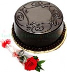 send Eggless Chocolate truffle cake Half Kg n 1 Red Rose delivery