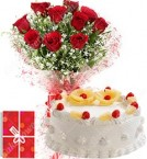 send Eggless 1Kg Pineapple Cake 10 Mix Roses bouquet with Greeting Card delivery