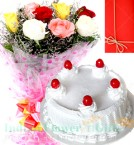 send  1Kg Vanilla Cake 10 Mix Roses bouquet delivery
