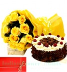 send yellow roses n Eggless 1Kg Black Forest cake perfect combo to gift delivery