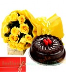 send Yellow Roses n Eggless 1Kg Chocolate Cake Perfect Combo to Gift delivery