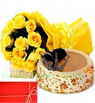 send  Yellow Roses n 1Kg  Eggless Butterscotch Cake delivery