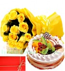 send Yellow Roses n Eggless 1Kg Fruit Cake Perfect Combo to Gift delivery