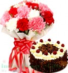 send Carnations Flower n Half Kg Black Forest Cake delivery