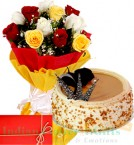 send MIx Roses n 1Kg Eggless Butterscotch Cake delivery