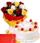 send Mix Roses n 1Kg Eggless Pineapple Cake delivery