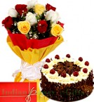 send Mix Roses n 1Kg Eggless Black Forest Cake delivery
