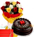 send Mix Roses n 1Kg Eggless Chocolate Cake delivery