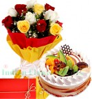 send Mix Roses n 1Kg Eggless Fruits Cake delivery