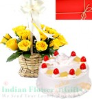 send Eggless Pineapple Cake 500gms N Yellow Roses Basket delivery