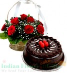 send 1Kg Chocolate Cake N Red Roses Basket delivery