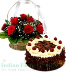 send 1Kg Black Forest Cake 500gms N Red Roses Basket delivery