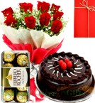 send happy birthday combogift red roses bouquet chocolate cake  ferrero rochher chocolate box with card delivery