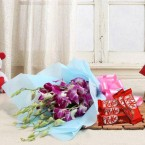 send Orchid Flower n Nestle Kit Kat Chocolate delivery