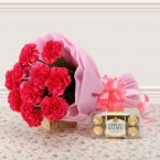 send Pink Carnations n with 200gm Ferrero Rocher. Chocolate delivery