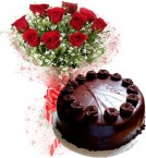 send 1Kg Chocolate Cake with 10 Red Roses Bouquet delivery
