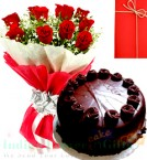 send 1kg Eggless Chocolate Truffle Cake Red Roses Bunch with Greeting Card delivery