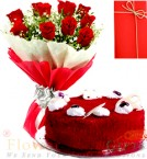 send Half Red Velvet Heart Cake n Roses Flower Bouquet Gifts delivery