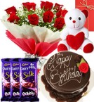 send Red Roses Bouquet - Eggless chocolate truffle cake - dairy milk  Bubbly -50 gms - teddy with Greeting Card delivery