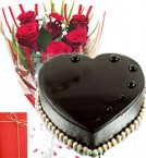 send 1 Kg Eggless Heart Shape Chocolate Truffle Cake Red Roses Bunch Greeting Card delivery