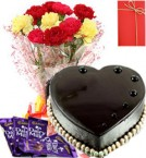 send 1-Kg Eggless heart shape Chocolate Truffle Cake Dairy Milk Chocolate Mix-Carnation Bunch Greeting Card delivery