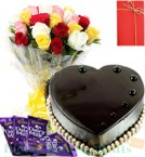 send 1 Kg Eggless Heart Shape Chocolate Truffle Cake Dairy Milk Chocolate Mix Roses-Bunch Greeting-Card delivery