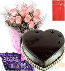 send 1 Kg Eggless Heart Shape Chocolate Truffle Cake Dairy Milk Chocolate Pink-Roses Bunch Greeting Card delivery