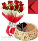 send Roses Bunch 1 Kg Butterscotch Cake with Greeting Card delivery