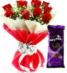 send Red Roses Flower bouquet with Dairy Milk Silk Chocolates delivery