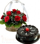 send Chocolate Truffle Cake Half Kg N Red Roses Basket delivery