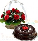 send 1Kg Eggless Chocolate Truffle Cake N Red Roses Basket delivery