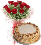 send 500gms Eggless Butterscotch Cake with 10 Roses Bouquet delivery
