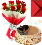 send 1 Kg Eggless Butterscotch Cake Red Roses Bunch Greeting Card delivery
