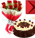 send 1 Kg Eggless Black Forest Cake Red Roses Bunch Greeting Card delivery